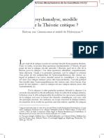 La Psychanalyse Modele Pour La Theorie c