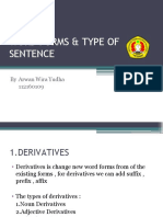 Word Forms & Type of Sentence