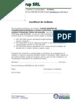 Certificat Calitate 1