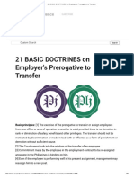 21 BASIC DOCTRINES on Employer's Prerogative to Transfer