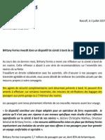 Communiqué de presse de la Brittany Ferries