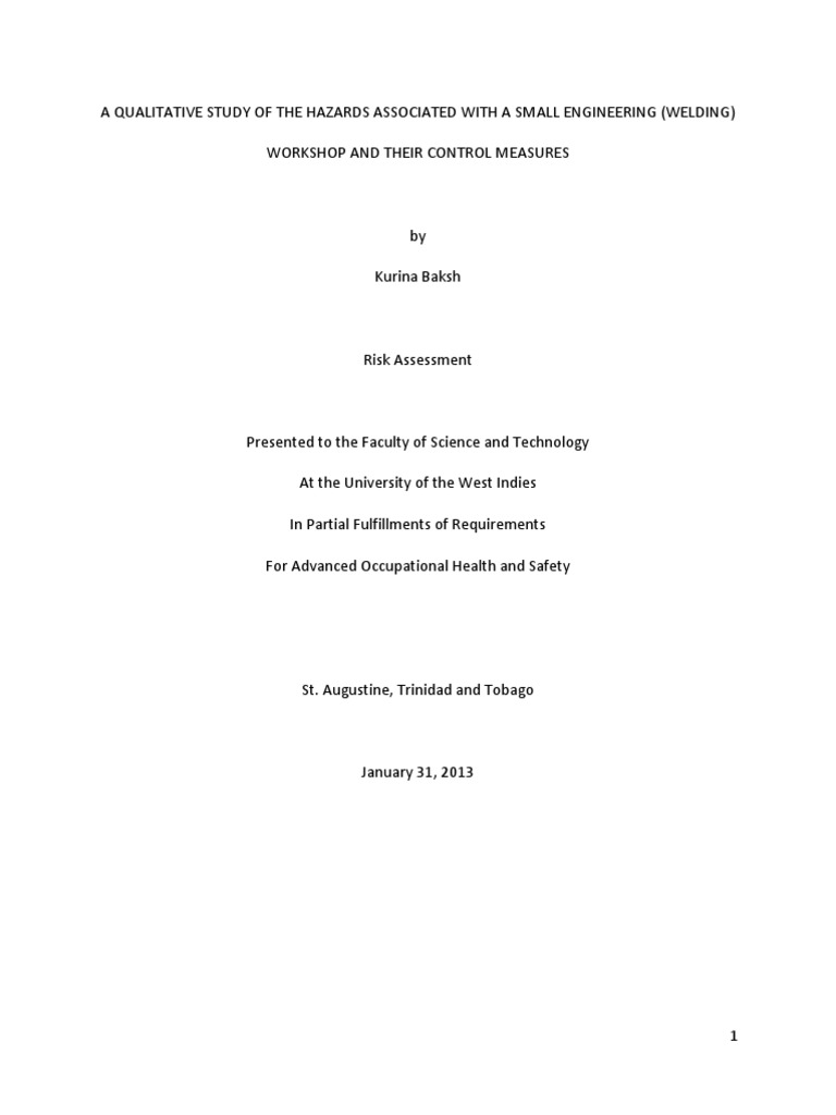 Risk Assessment For A Small Engineering Pdf Personal