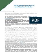 Maria Lourdes - Das Volkerrechtliche Subjekt - Das Deutsche Reich Oder Die Unaufloslichen Rechte Der