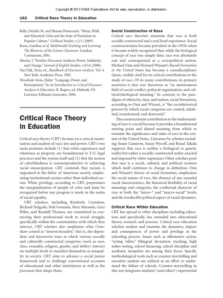 Chang-critical Race Theory in Education-sociology of ...
