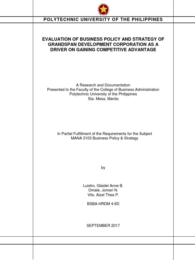 Research Documentation In Business Policy Strategic Management