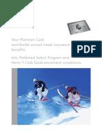 Platinum Card Summary of Travel Insurance Benefits