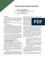 Reflexiones Sobre El Servicio de Salud Colombiano