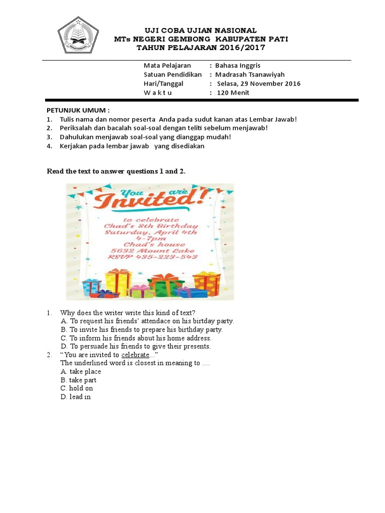 Soal Bhs Ing I Ucun Nature - Contoh soal invitation birthday party