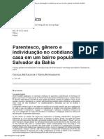 Parentesco, Gênero e Individuação No Cotidiano Da Casa Em Um Bairro Popular de Salvador Da Bahia
