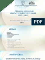 Strategia de dezvoltare a Bibliotecii Ştiinţifice USARB (anii 2017-2022) aprobată în Senat