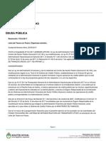 Resolución 172-E/2017 - Letra del Tesoro en Pesos - Transporte