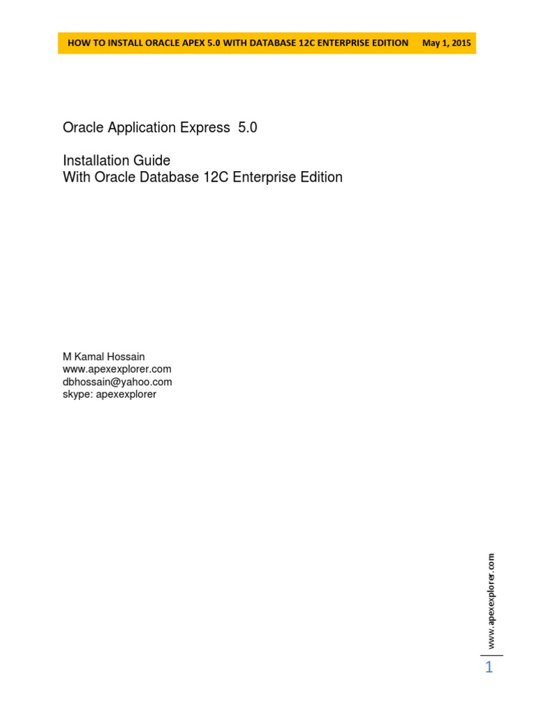 How to Install Oracle Apex 5 0 With Database 12C | Zip (File Format