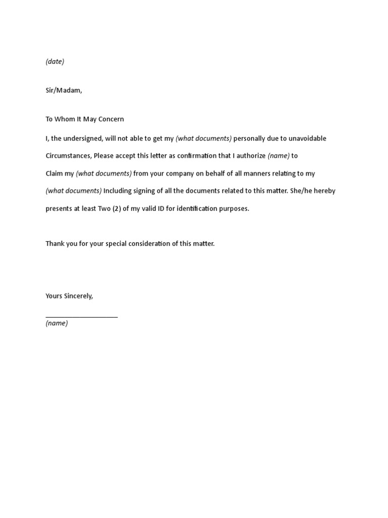 Authorization Letter to pick up – Letter of Authorization Letter