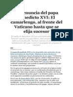La Renuncia Del Papa Benedicto XVI