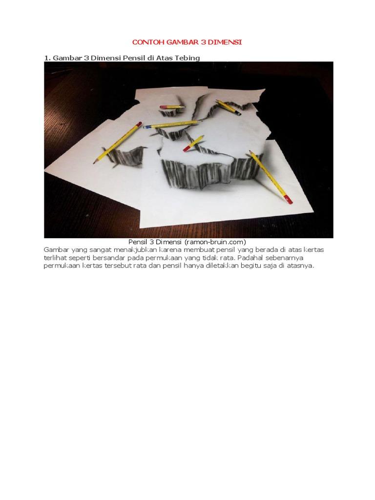 Contoh Gambar Benda 3 Dimensi Pensil Yang Mudah Belog Kite Kite Aje
