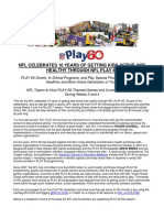 NFL Celebrates Ten Years of NFL PLAY 60_Press Release