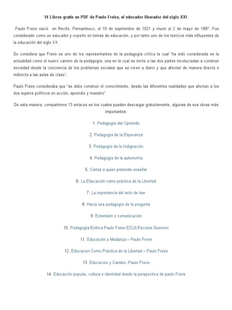 14 Libros Gratis En PDF De Paulo Freire, El Educador ... @tataya.com.mx