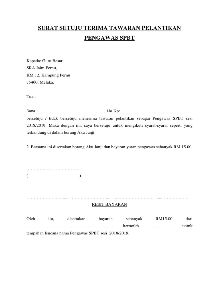 Surat Setuju Terima Tawaran Pelantikan