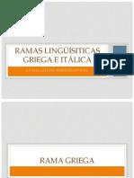 Ramas Lingüísiticas Griega e Itálica