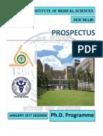 Phd Prospectus January, 2017 Aiims