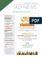 weekly newsletter-sept 25 sept 29