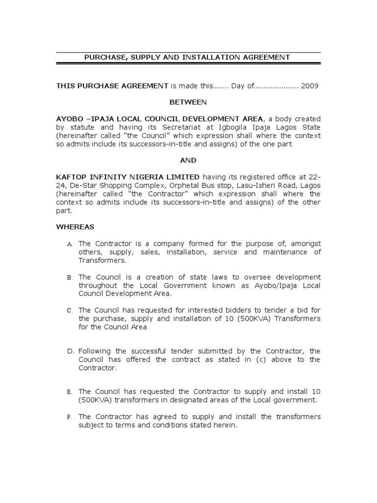 Draft Agreement For Ayobo Ipaja2 General Contractor Taxes