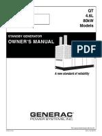 QT 4.6L 80KW Generator Operator Manual