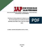 Autocuidado de La Salud en Estudiantes Del 5to Año de Secundaria de La Institución Educativa Nº146 Su Santidad Juan Pablo II San Juan de Lurigancho, Lima-Perú