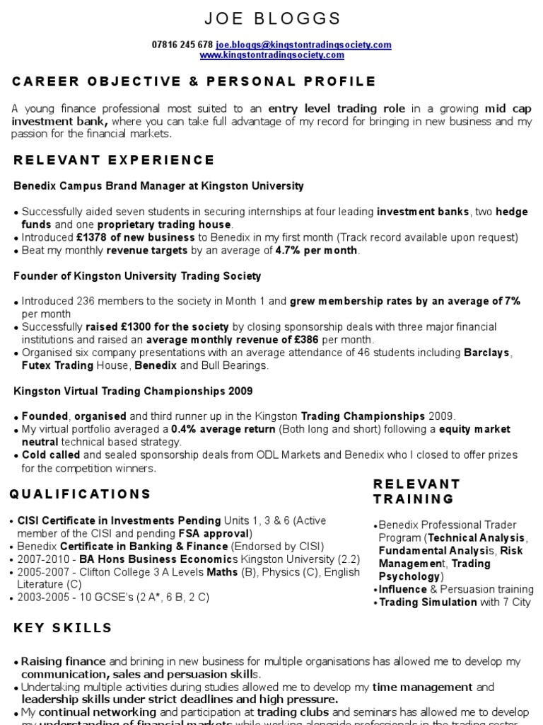 Captivating Perfect Trading CV Sample | Investment Banking | Financial Markets