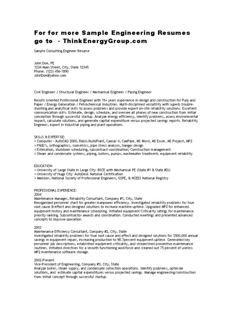 sampleresume consultingeng reliability engineering engineer