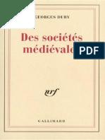 Georges Duby - Des sociétés médiévales.epub