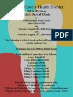August 2010 Adult Dental Clinic Flyer