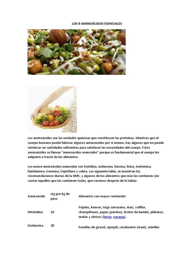 alimentos que contengan aminoacidos esenciales