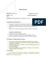 Plano de Aula 2 colegial Relembrando Sistemas de Equações do 1 grau.