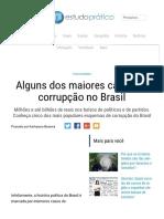 Alguns dos maiores casos de corrupção no Brasil - Estudo Prático