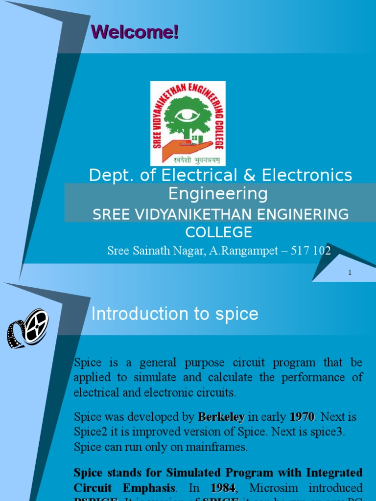 Pspice Introduction Spice Electrical Network Circuit Program