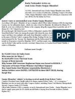 Hindu Nationalist Writes on International Arms Dealers Sanjay Bhandari