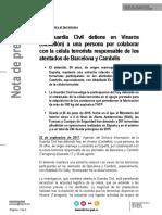 Comunicado de Interior sobre la detención en Vinaròs