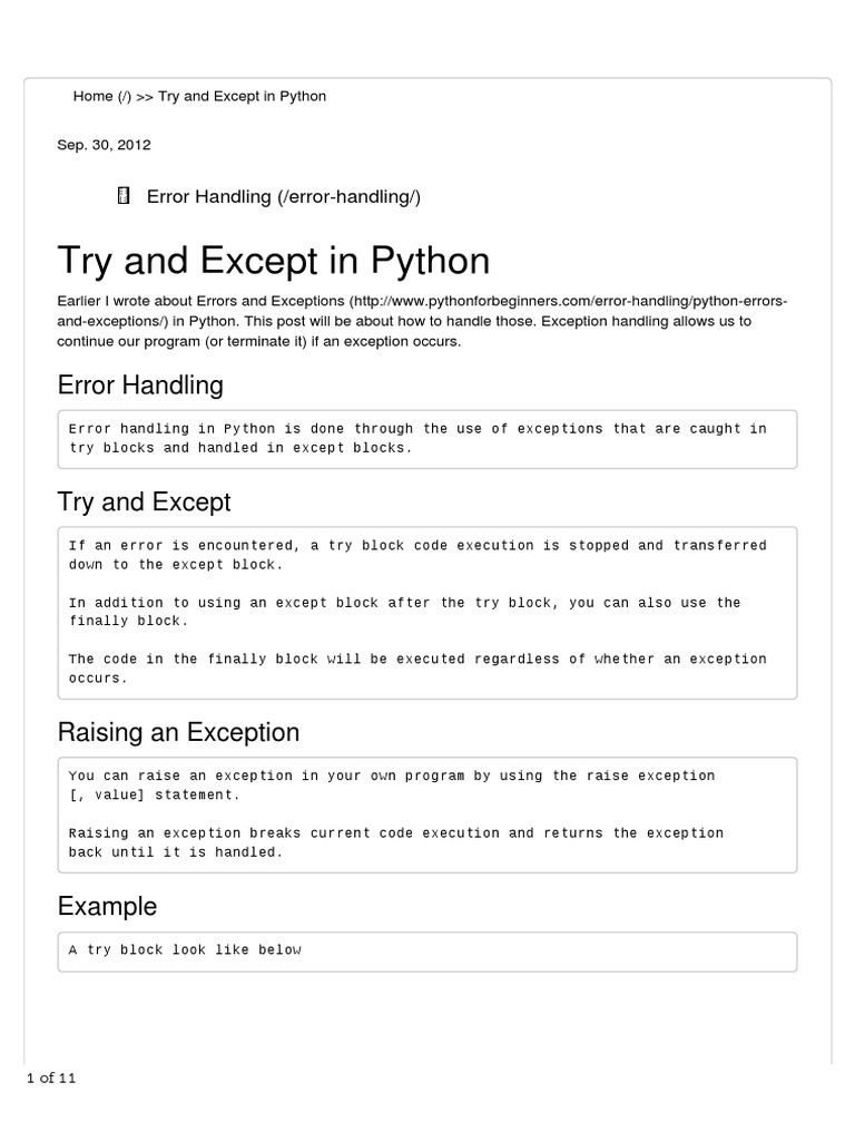 try except python