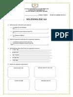 Examen Matematicas Cuarto