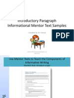 Mentor Texts for Informational Text Introductory Paragraphs mentor text.pdf