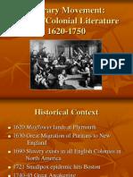 Literary Movement Puritan Colonial Literature 1620-1750