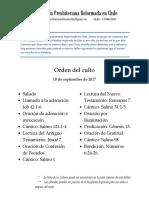 2017-09-10 - Orden Del Culto