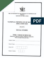 Ncse 2013 Social Studies
