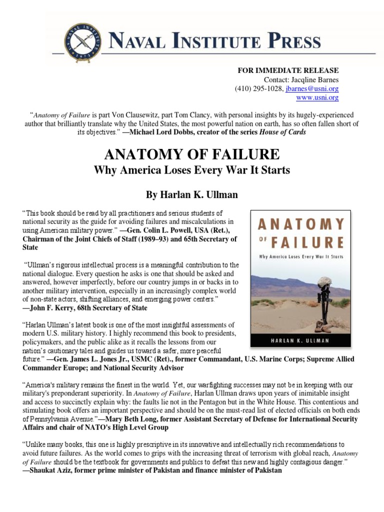 PRESS RELEASE: Anatomy of Failure: Why America Loses Every War It ...