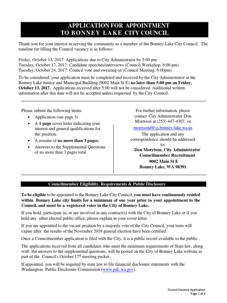 Council Vacancy Application Packet
