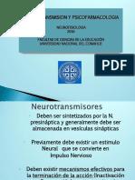 Neurotransmision y Nociones de Psicofarmacologia 2016