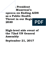 Uganda President Yoweri Museveni's Speech on Ending AIDS as a Public Health Threat in Our Region by 2030 at the 72nd UN General Assembly