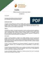 Edital Selecao PROURB 2018 Informativo
