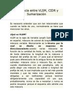 Diferencia Entre VLSM CIDR y Sumarizacion